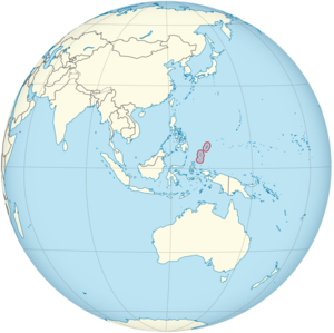 Palau on the globe (Southeast Asia centered) (small islands magnified).png